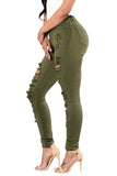 High Waist CutOut Green Stretch Jeans