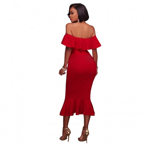 Kaya Ruffle Off-Shoulder Midi