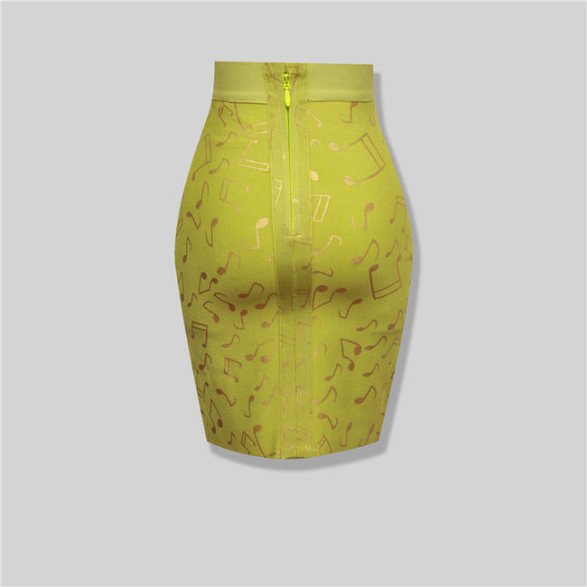 Foil Lemon Bandage Skirt