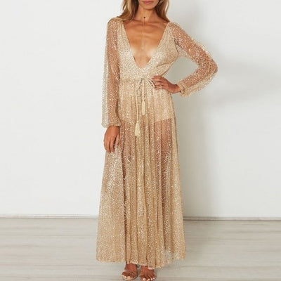 Lace Sequin Multi-Set Bodycon Maxi