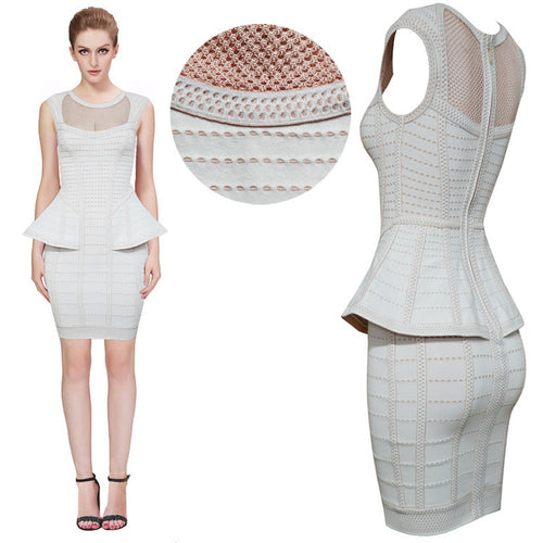 Peplum Light-Grey Bandage Dress
