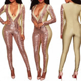 Matey Rose-Gold Sequinn Jumpsuit