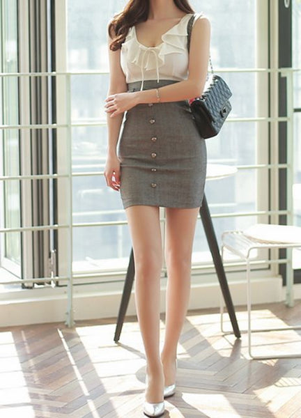 Chiffon-Top High-Waist Bodycon