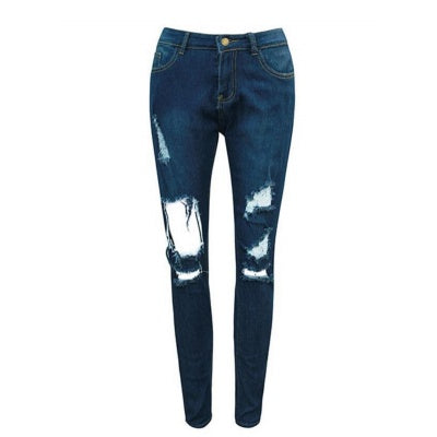 Empire Waist Rauched Hole Jeans
