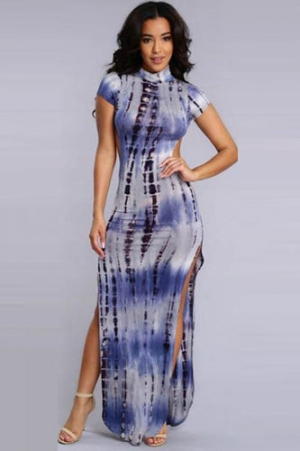 BlueTie-Dye Open Back Maxi