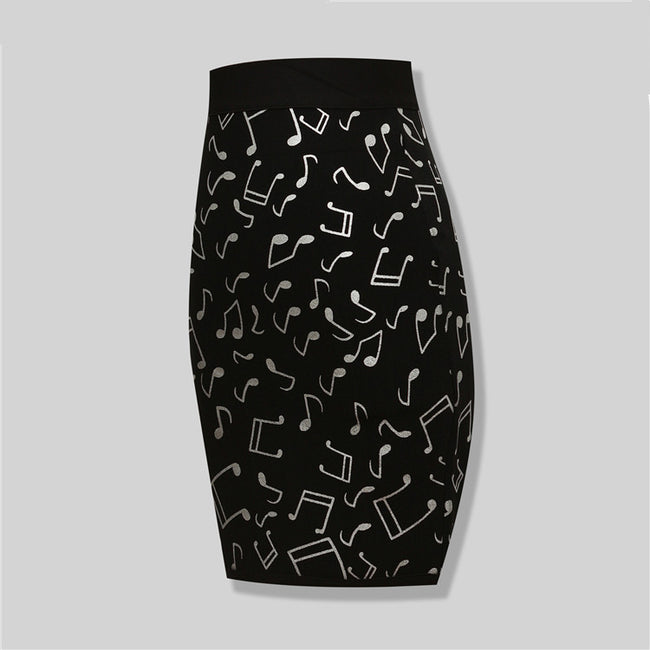 Block Detailed Black Bandage Skirt
