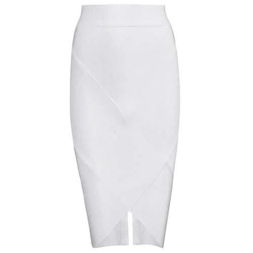 White Ribbed Pencil Skirt