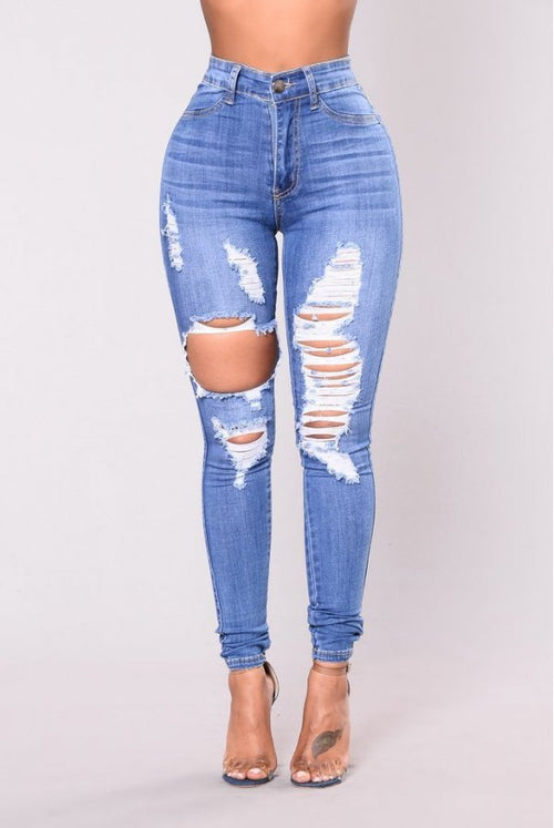 Empire Waist Blue Rauched Jeans