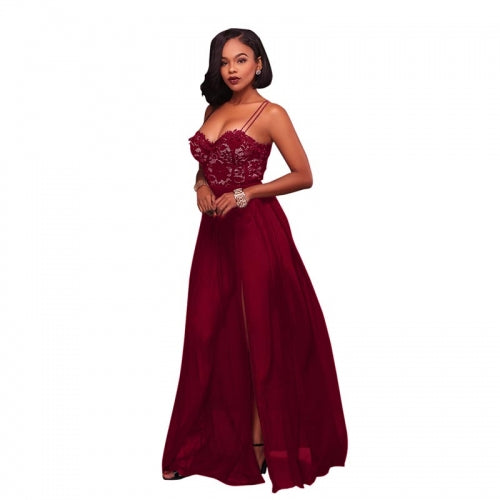 Antonique Wine Red Lace Padded Maxi