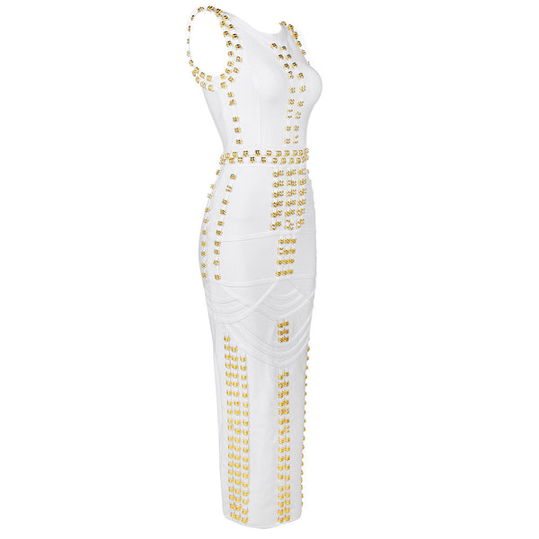 White Studded Bandage Maxi Dress