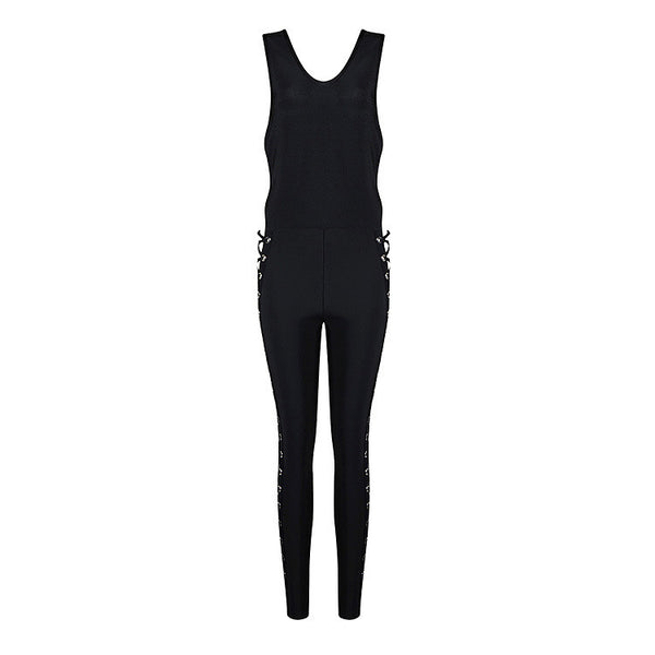 Side Cut-Out Sleeveless  Black Jumpsuit