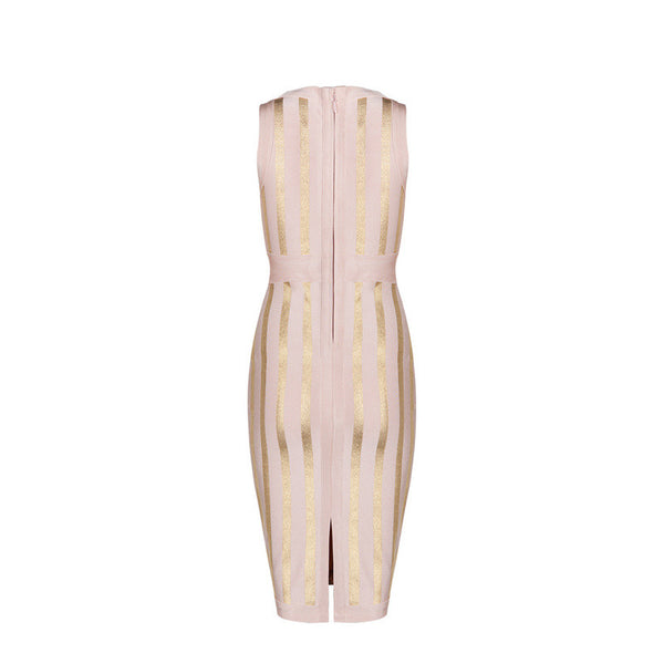 Gold Lined Sleeveless Bandage Midi