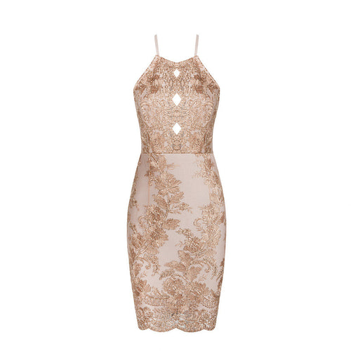 Single-Strap Gold Embellished Dress