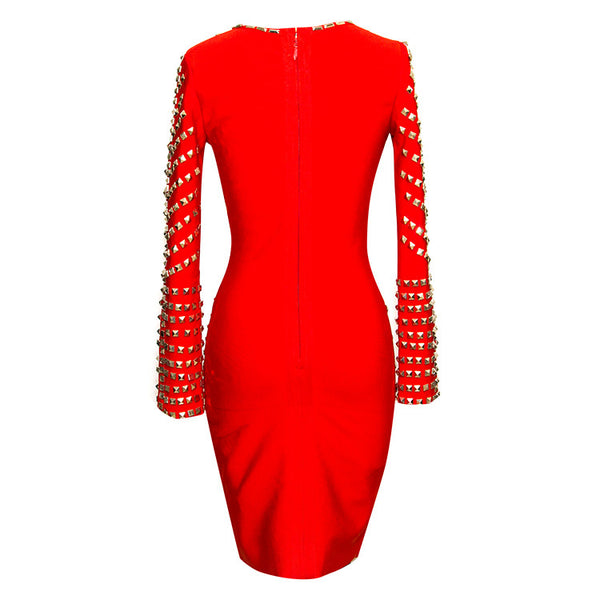 Stud Embellished Deep-V  Red Bandage