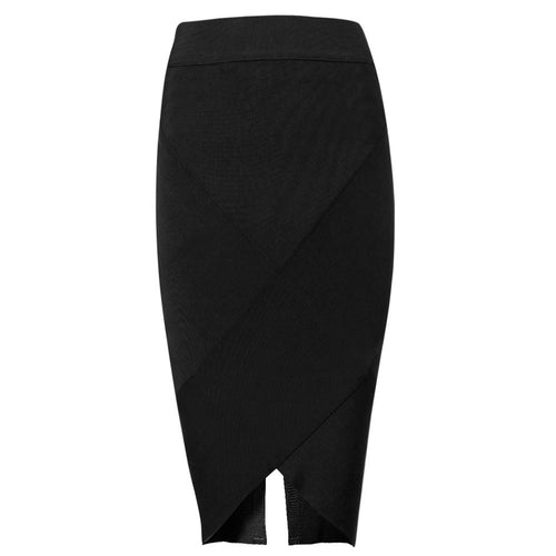 Black Back Split Pencil Skirt