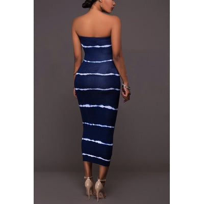 Sleeveless Horizontal Tie-Dye Midi