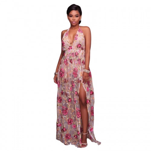 Fanisha Embroidered Nude Romper Maxi