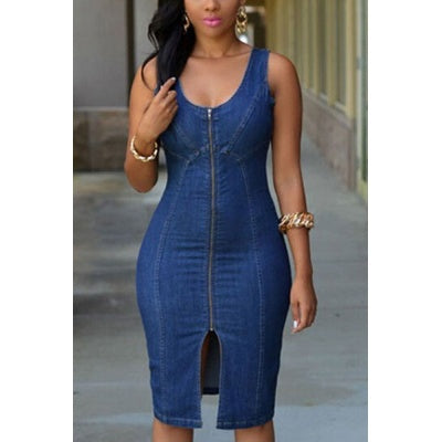 Front-Zipper Jeans Bodycon