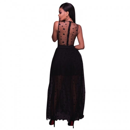 Black Lace Romper Maxi