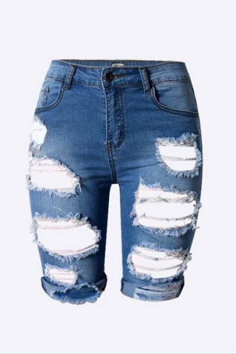 Destroyed Bermuda Jeans Shorts