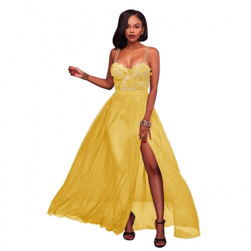 Antonique Yellow Lace Padded Maxi