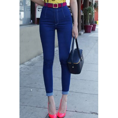 Empire Waist Solid Blue Jeans