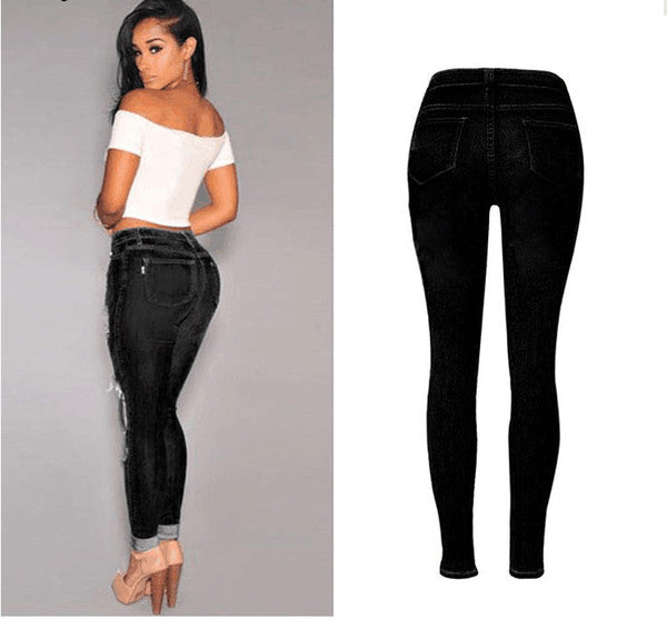 Empire Waist Scuffed Black Jeans