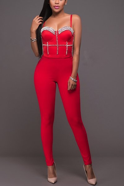 Bracup Beaded Open-Back Skinny Jumpsuit