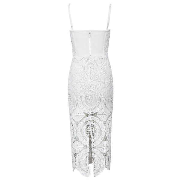Embroidered White Lace Bandage Dress