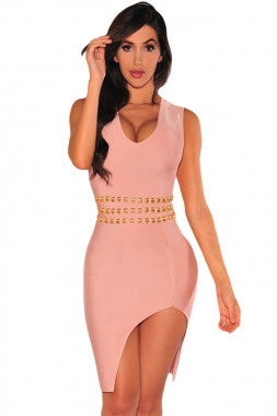 Blush-Gold Bandage Dress