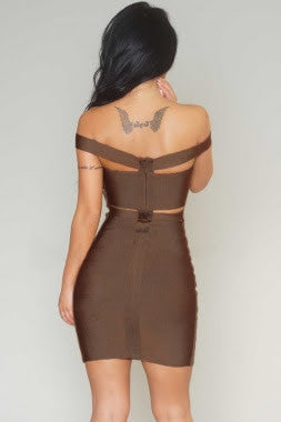 Coffee Cut-Out Off-Shoulder Bandage Dress