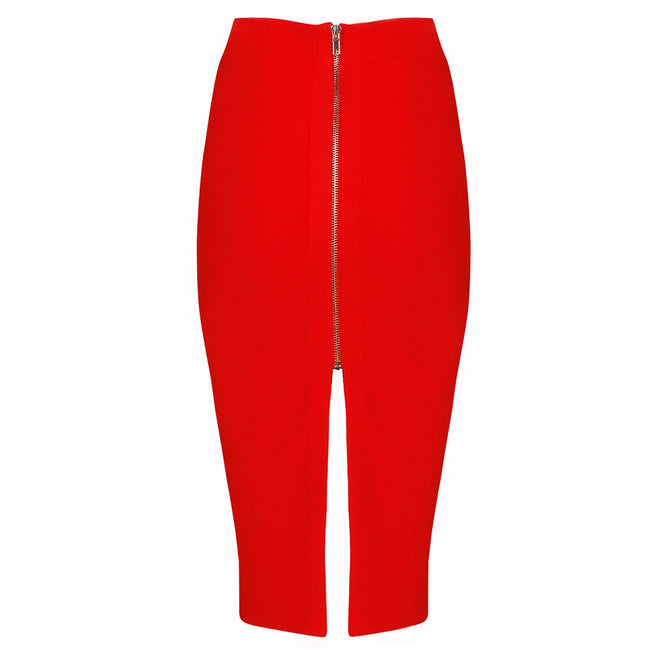 Back Split Red Pencil Skirt