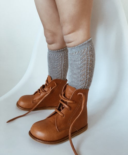 CONDOR Knee High Lace Sock ALUMINIO Light Grey