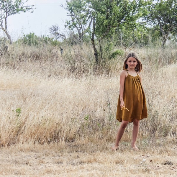 Numero 74 Mia Dress Gold Mabel's Garb Ethical Clothing Australia