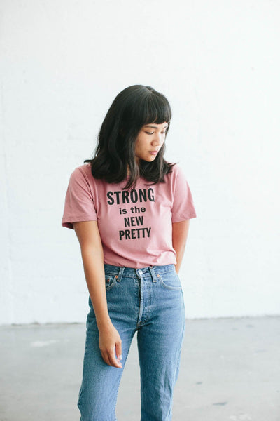 the bee and the fox co. slogan tee strong is the new pretty pink LADIES mabels garb australia
