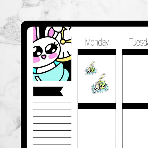Mop & Bucket Kawaii Planner Stickers