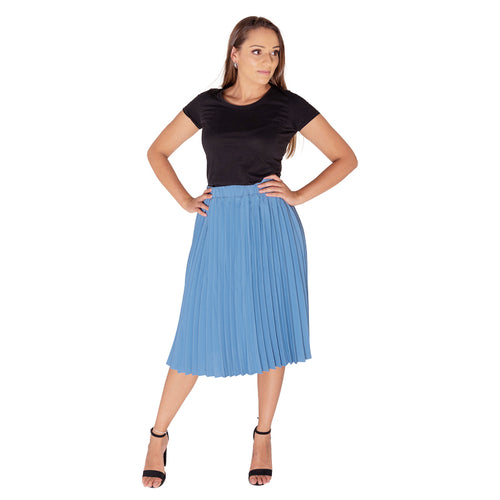 Blue Pleated Skirt Mid Length-Skirt-ElegantFemme