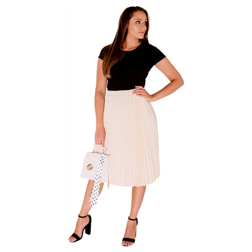 Cream Pleated Skirt Mid Length-Skirt-ElegantFemme