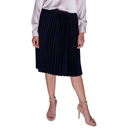 Black Pleated Skirt Mid Length-Skirt-ElegantFemme
