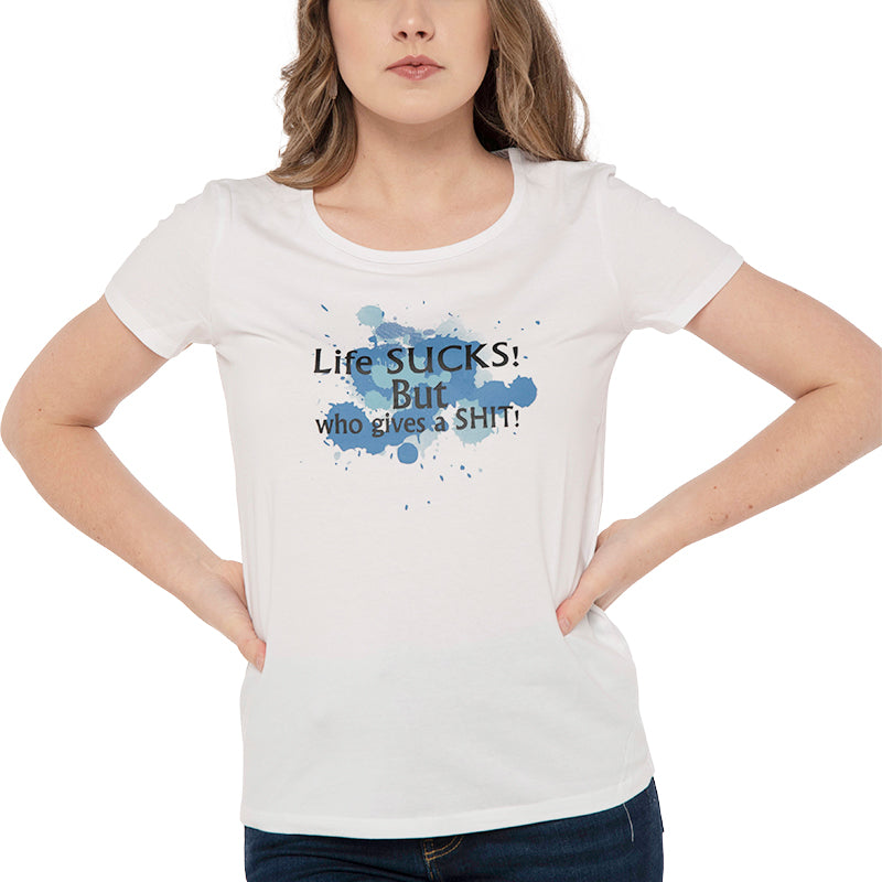 The Real Life Tee - In Blue-Printed T Shirt-ElegantFemme