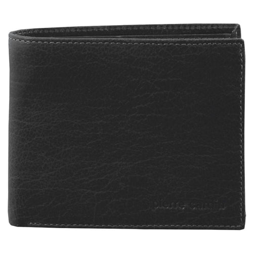 PIERRE CARDIN RUSTIC LEATHER BI-FOLD MENS WALLET (PC2819) - BLACK-Bi-Fold Men's Wallet-ElegantFemme