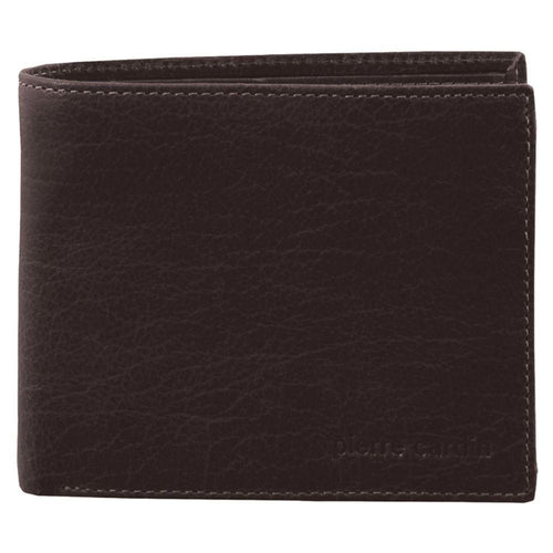 PIERRE CARDIN RUSTIC LEATHER BI-FOLD MENS WALLET (PC2819) - BROWN-Bi-Fold Men's Wallet-ElegantFemme