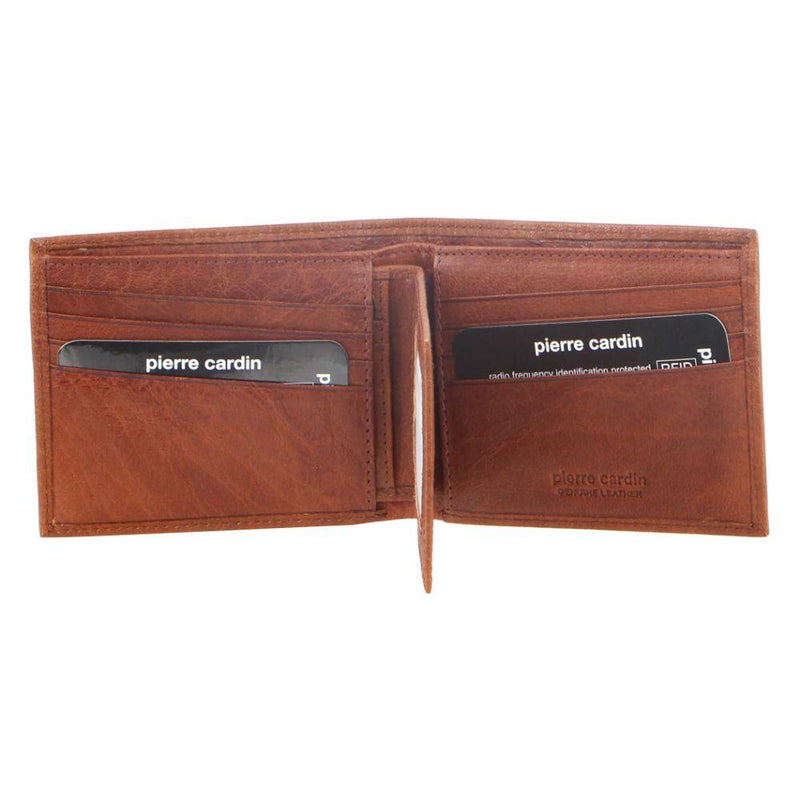 PIERRE CARDIN RUSTIC LEATHER BI-FOLD MENS WALLET (PC2819) - CHESTNUT-Bi-Fold Men's Wallet-ElegantFemme