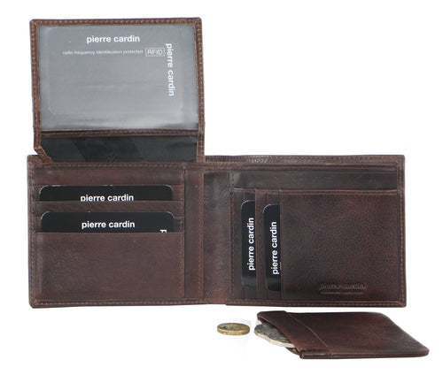 PIERRE CARDIN ITALIAN LEATHER WALLET/CARD HOLDER (PC9449) - Chocolate-Bifold Men's Wallet-ElegantFemme