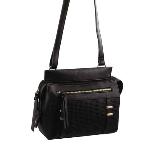 Milleni Cross-Body Handbag with perforated detail (NC2681) - Black-Crossbody Bag-ElegantFemme