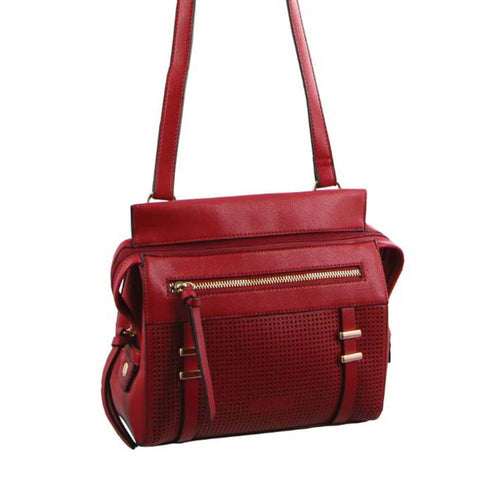 Milleni Cross-Body Handbag with perforated detail (NC2681) - Red-Crossbody Bag-ElegantFemme