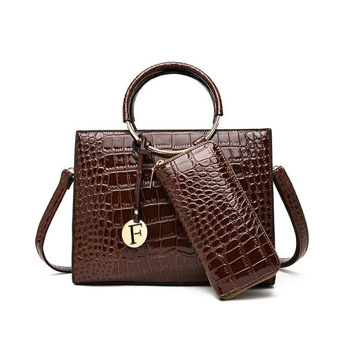 Francis - Handbag Set of 2 - Brown-Handbag Set-ElegantFemme