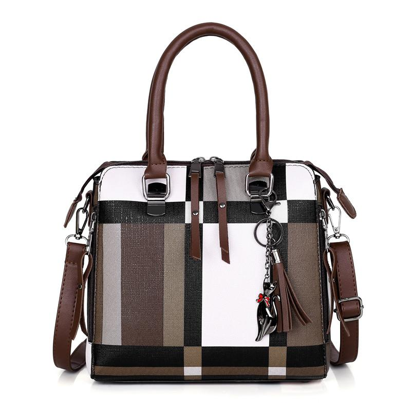 Nov Patterned Handbag Set of 4 - Brown-Handbag Set-ElegantFemme