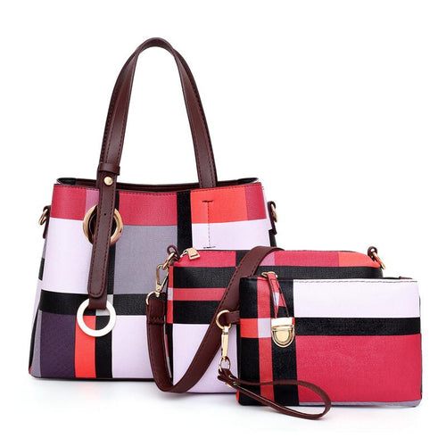 Red Patterned PU Leather Handbag Set of 3 Bags-Handbag Set-ElegantFemme