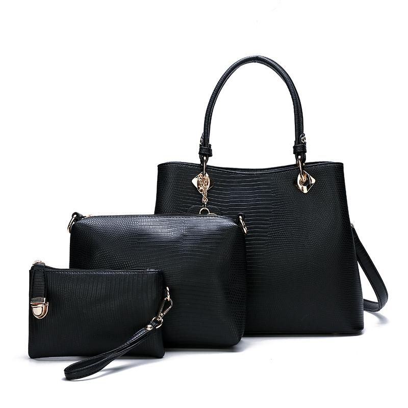 SS Patterned Handbag Set of 3 Bags - Black-Handbag Set-ElegantFemme